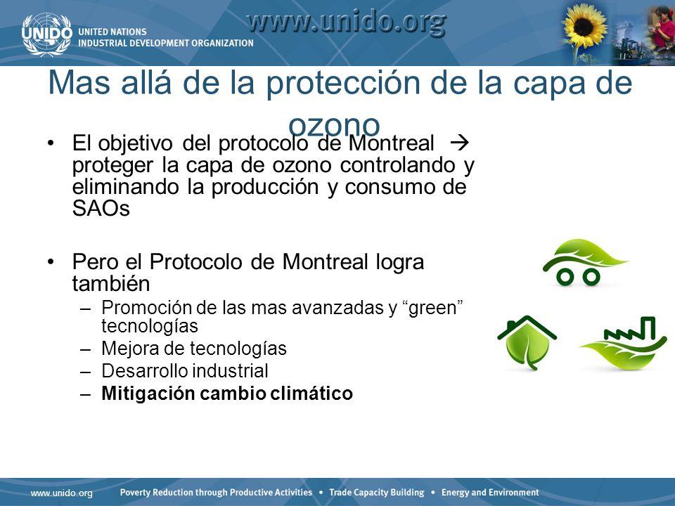www.unido.org Mas allá de la protección de la capa de ozono El objetivo del protocolo de Montreal proteger la capa de ozono controlando y eliminando la producción y consumo de SAOs Pero el Protocolo de Montreal logra también –Promoción de las mas avanzadas y green tecnologías –Mejora de tecnologías –Desarrollo industrial –Mitigación cambio climático