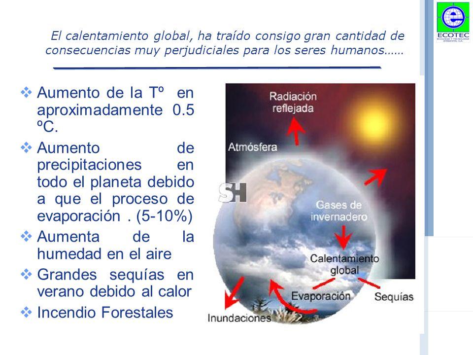 El calentamiento global, ha traído consigo gran cantidad de consecuencias muy perjudiciales para los seres humanos…… Aumento de la Tº en aproximadamente 0.5 ºC.
