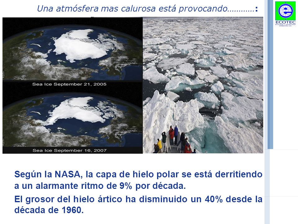 Una atmósfera mas calurosa está provocando…………: Según la NASA, la capa de hielo polar se está derritiendo a un alarmante ritmo de 9% por década.