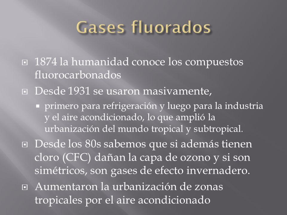 1874 la humanidad conoce los compuestos fluorocarbonados Desde 1931 se usaron masivamente, primero para refrigeración y luego para la industria y el aire acondicionado, lo que amplió la urbanización del mundo tropical y subtropical.