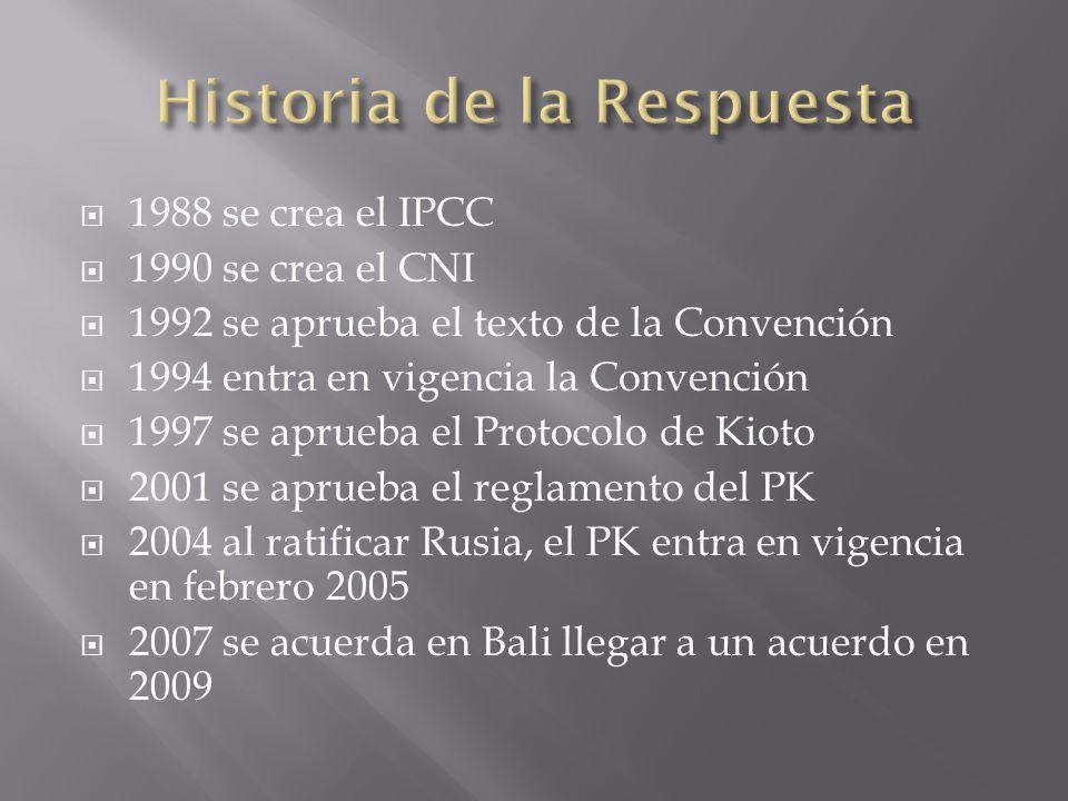 1988 se crea el IPCC 1990 se crea el CNI 1992 se aprueba el texto de la Convención 1994 entra en vigencia la Convención 1997 se aprueba el Protocolo de Kioto 2001 se aprueba el reglamento del PK 2004 al ratificar Rusia, el PK entra en vigencia en febrero 2005 2007 se acuerda en Bali llegar a un acuerdo en 2009