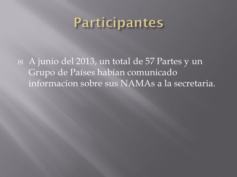 A junio del 2013, un total de 57 Partes y un Grupo de Países habían comunicado informacion sobre sus NAMAs a la secretaria.