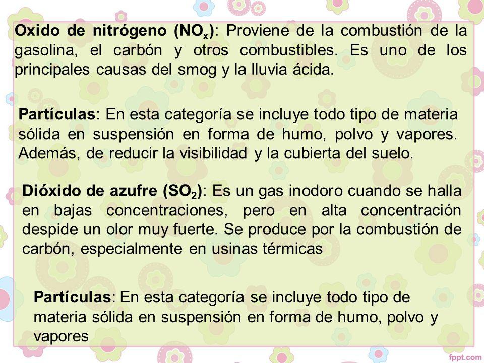 Oxido de nitrógeno (NO x ): Proviene de la combustión de la gasolina, el carbón y otros combustibles.