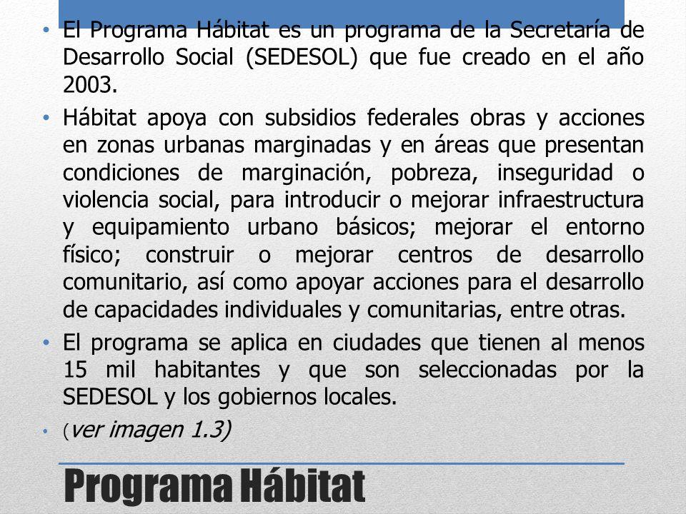 Programa Hábitat El Programa Hábitat es un programa de la Secretaría de Desarrollo Social (SEDESOL) que fue creado en el año 2003. Hábitat apoya con s