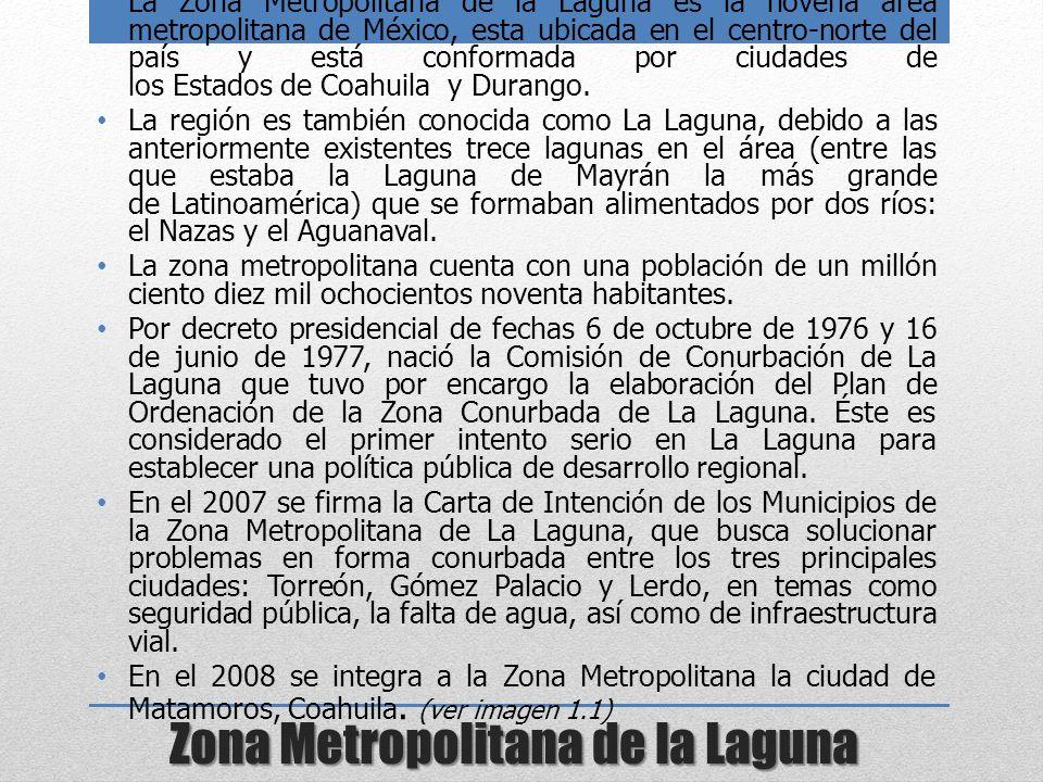 Zona Metropolitana de la Laguna La Zona Metropolitana de la Laguna es la novena área metropolitana de México, esta ubicada en el centro-norte del país