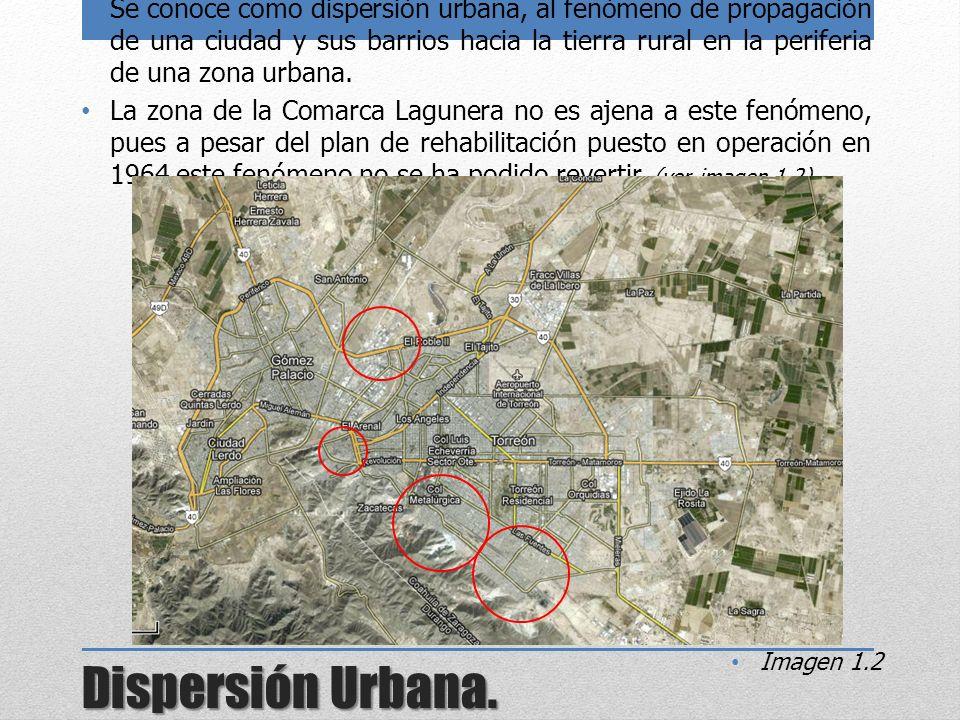 Dispersión Urbana. Se conoce como dispersión urbana, al fenómeno de propagación de una ciudad y sus barrios hacia la tierra rural en la periferia de u