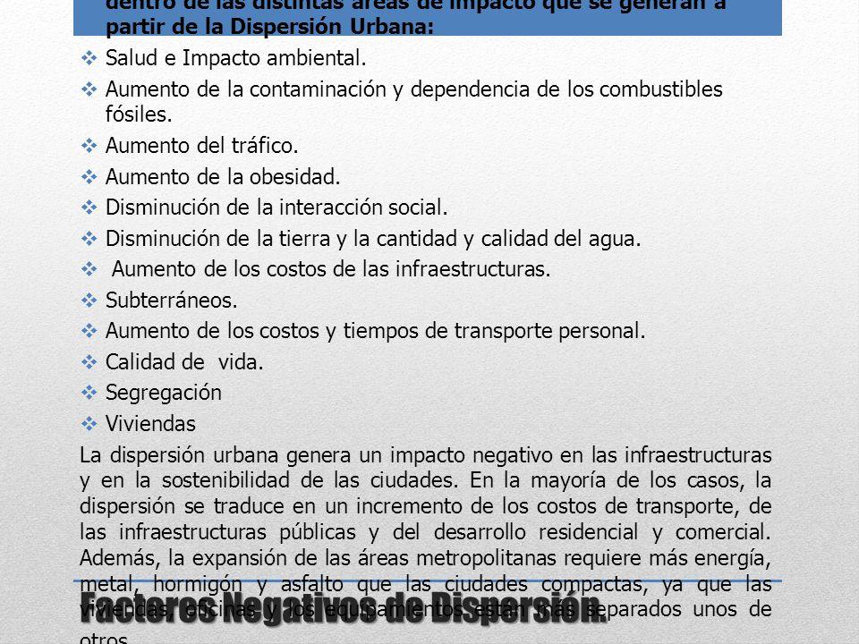 Factores Negativos de Dispersión. La gran mayoría de estos problemas se pueden englobar dentro de las distintas áreas de impacto que se generan a part