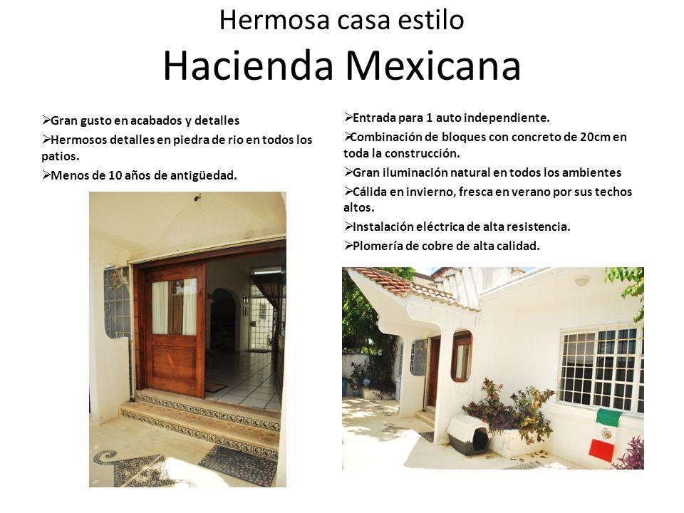 Hermosa casa estilo Hacienda Mexicana Gran gusto en acabados y detalles Hermosos detalles en piedra de rio en todos los patios. Menos de 10 años de an