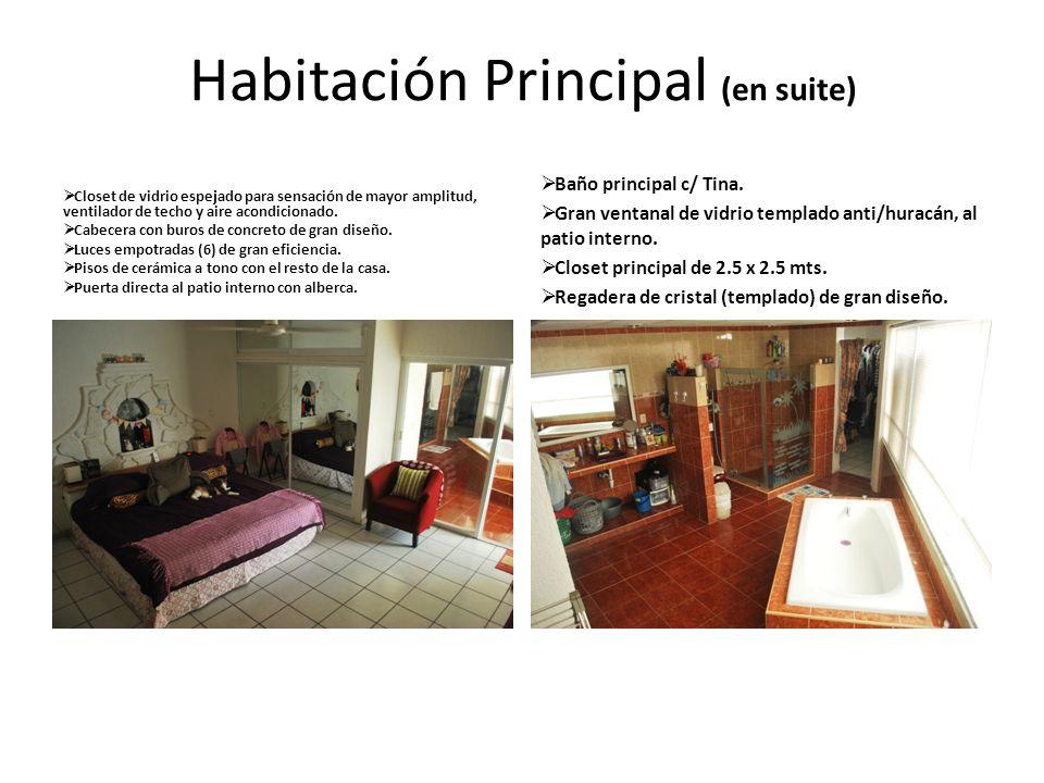 Habitación Principal (en suite) Closet de vidrio espejado para sensación de mayor amplitud, ventilador de techo y aire acondicionado. Cabecera con bur