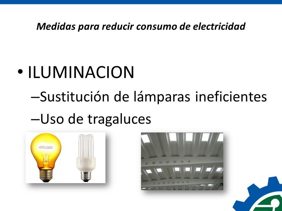Medidas para reducir consumo de electricidad ILUMINACION – Sustitución de lámparas ineficientes – Uso de tragaluces