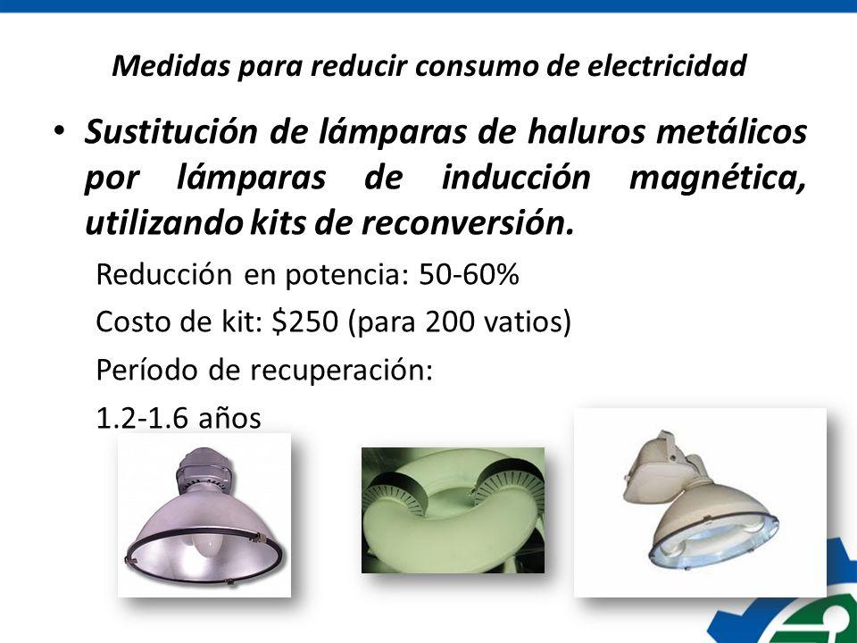 Medidas para reducir consumo de electricidad Sustitución de lámparas de haluros metálicos por lámparas de inducción magnética, utilizando kits de reco
