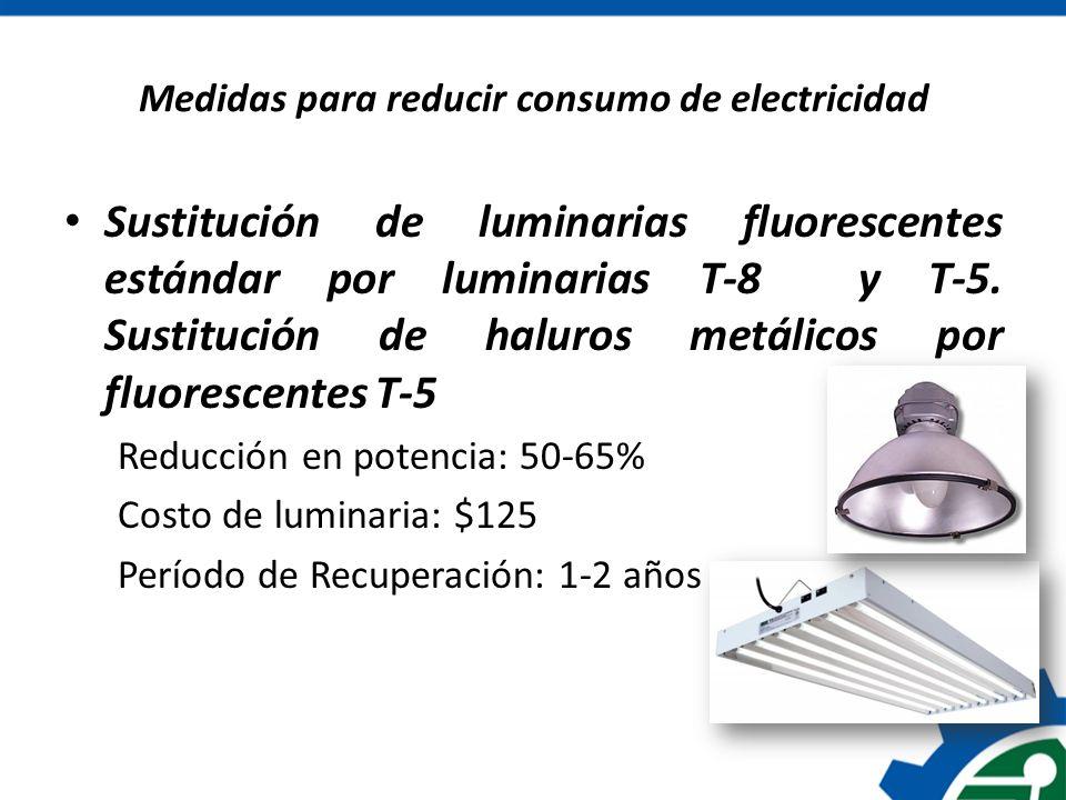 Medidas para reducir consumo de electricidad Sustitución de luminarias fluorescentes estándar por luminarias T-8 y T-5. Sustitución de haluros metálic