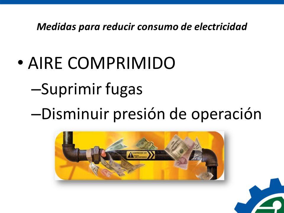 Medidas para reducir consumo de electricidad AIRE COMPRIMIDO – Suprimir fugas – Disminuir presión de operación