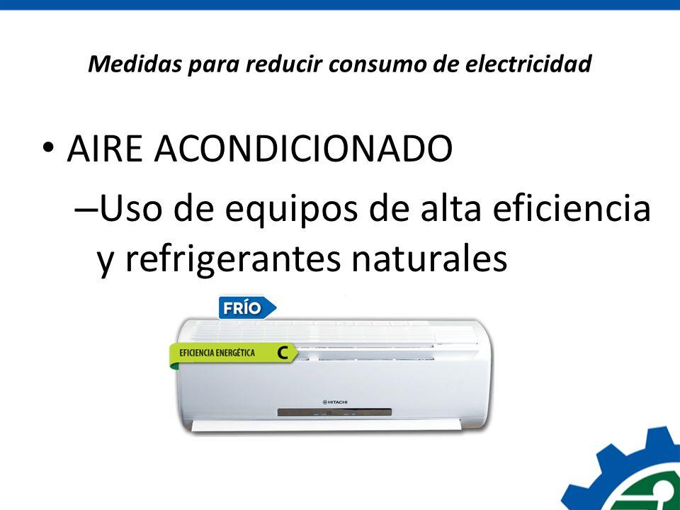 Medidas para reducir consumo de electricidad AIRE ACONDICIONADO – Uso de equipos de alta eficiencia y refrigerantes naturales