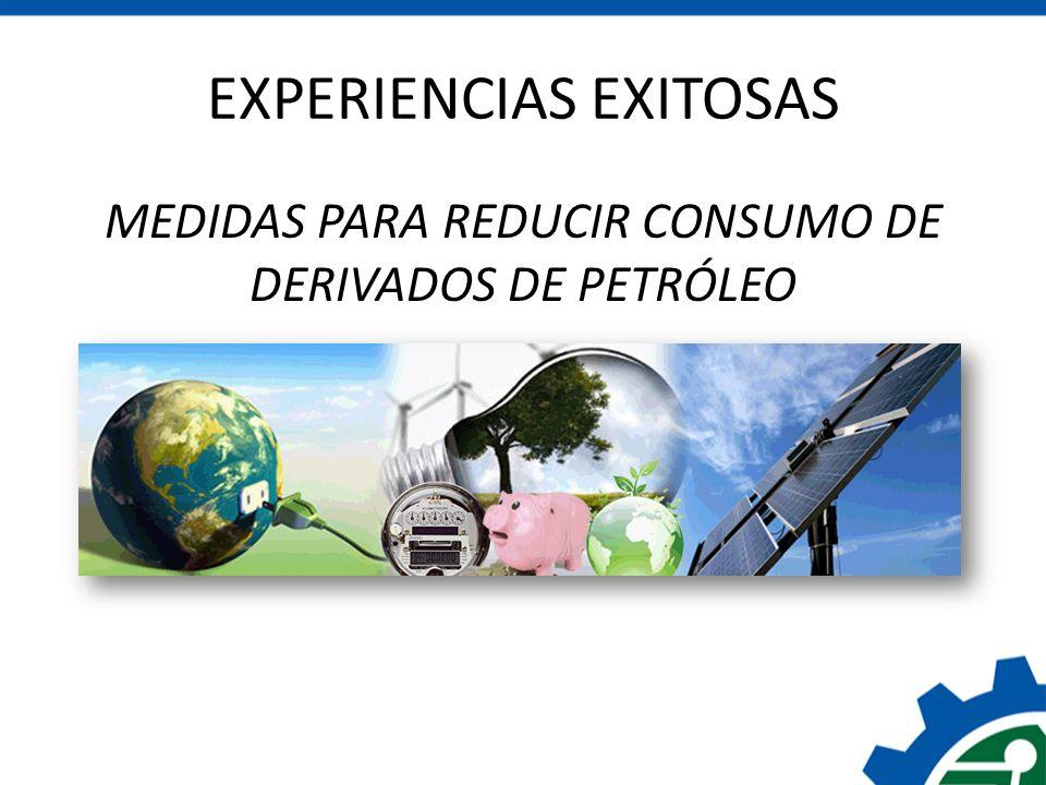 EXPERIENCIAS EXITOSAS MEDIDAS PARA REDUCIR CONSUMO DE DERIVADOS DE PETRÓLEO