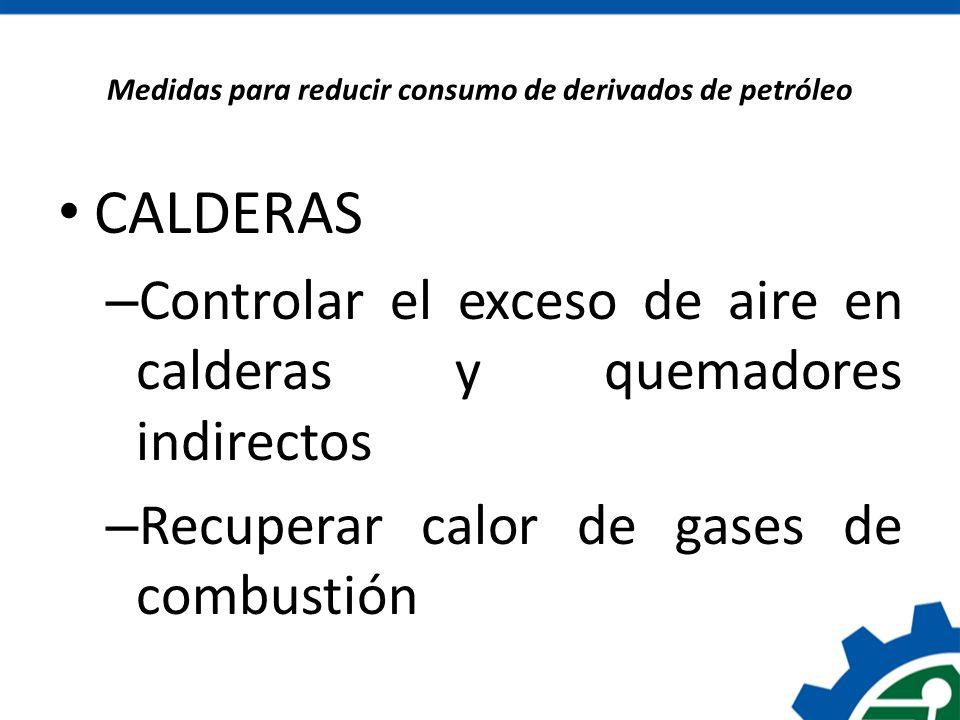 Medidas para reducir consumo de derivados de petróleo CALDERAS – Controlar el exceso de aire en calderas y quemadores indirectos – Recuperar calor de