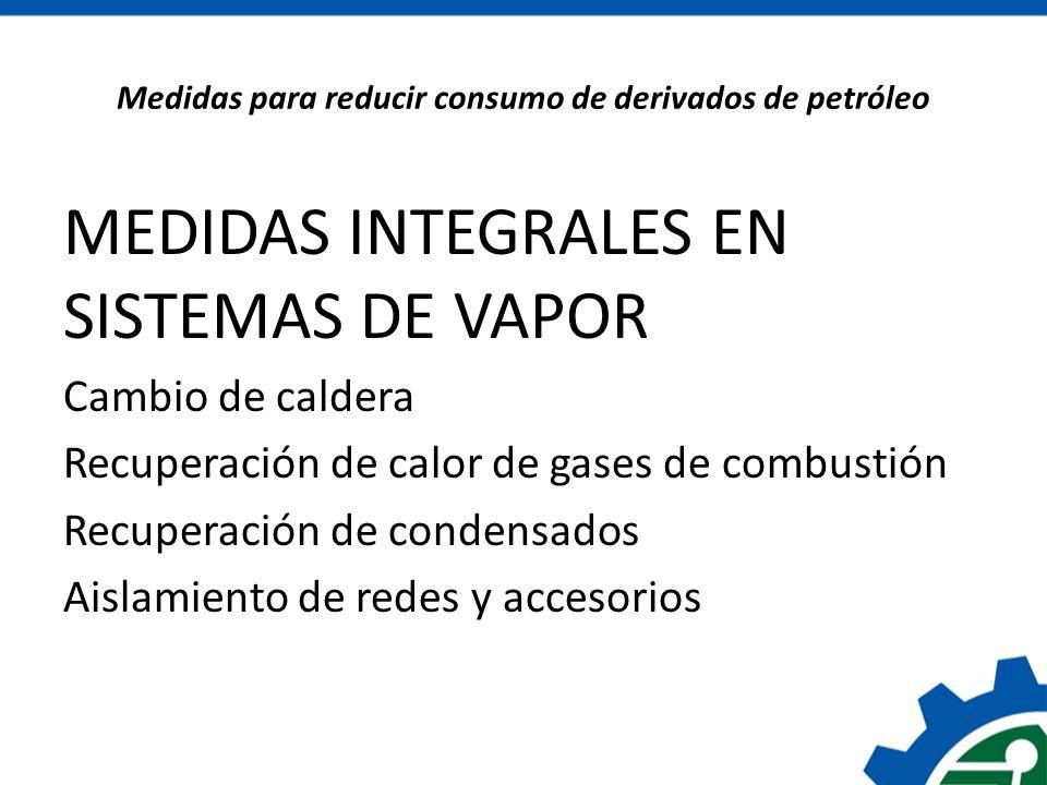Medidas para reducir consumo de derivados de petróleo MEDIDAS INTEGRALES EN SISTEMAS DE VAPOR Cambio de caldera Recuperación de calor de gases de comb