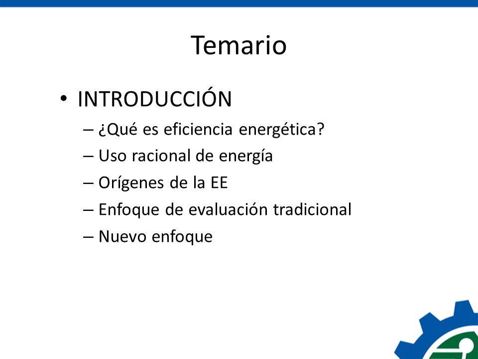 Temario INTRODUCCIÓN – ¿Qué es eficiencia energética? – Uso racional de energía – Orígenes de la EE – Enfoque de evaluación tradicional – Nuevo enfoqu