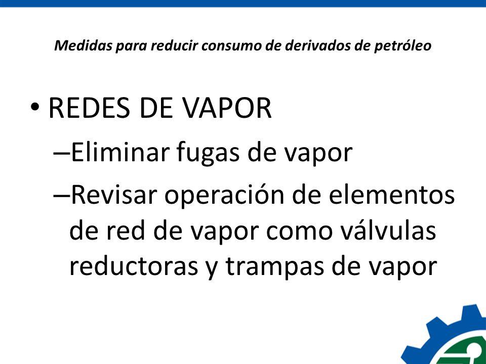 Medidas para reducir consumo de derivados de petróleo REDES DE VAPOR – Eliminar fugas de vapor – Revisar operación de elementos de red de vapor como v