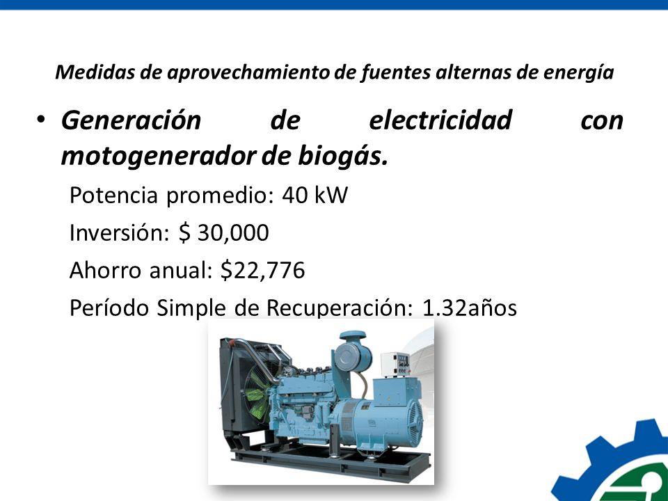 Generación de electricidad con motogenerador de biogás. Potencia promedio: 40 kW Inversión: $ 30,000 Ahorro anual: $22,776 Período Simple de Recuperac