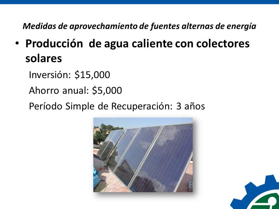 Medidas de aprovechamiento de fuentes alternas de energía Producción de agua caliente con colectores solares Inversión: $15,000 Ahorro anual: $5,000 P