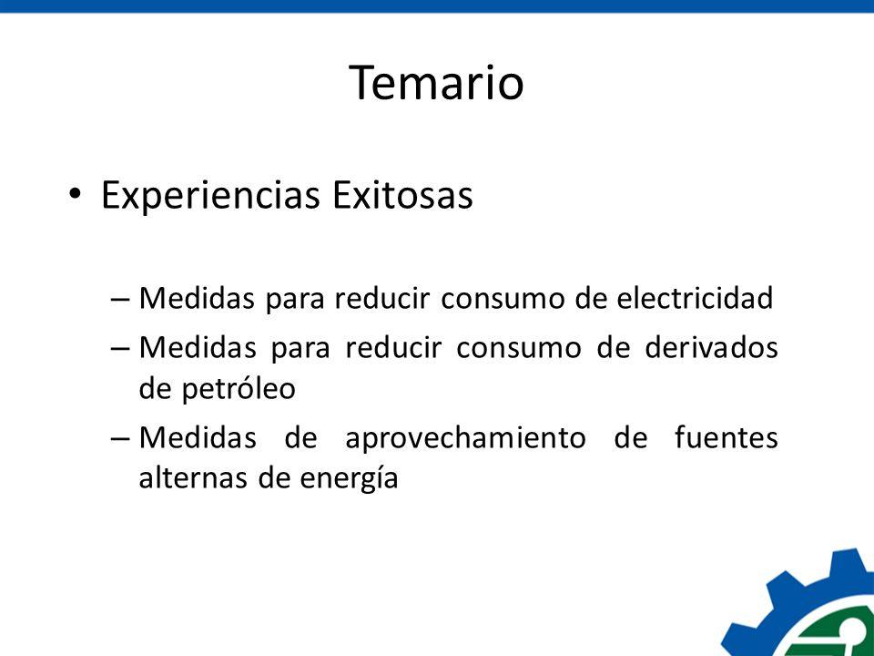 Temario Experiencias Exitosas – Medidas para reducir consumo de electricidad – Medidas para reducir consumo de derivados de petróleo – Medidas de apro