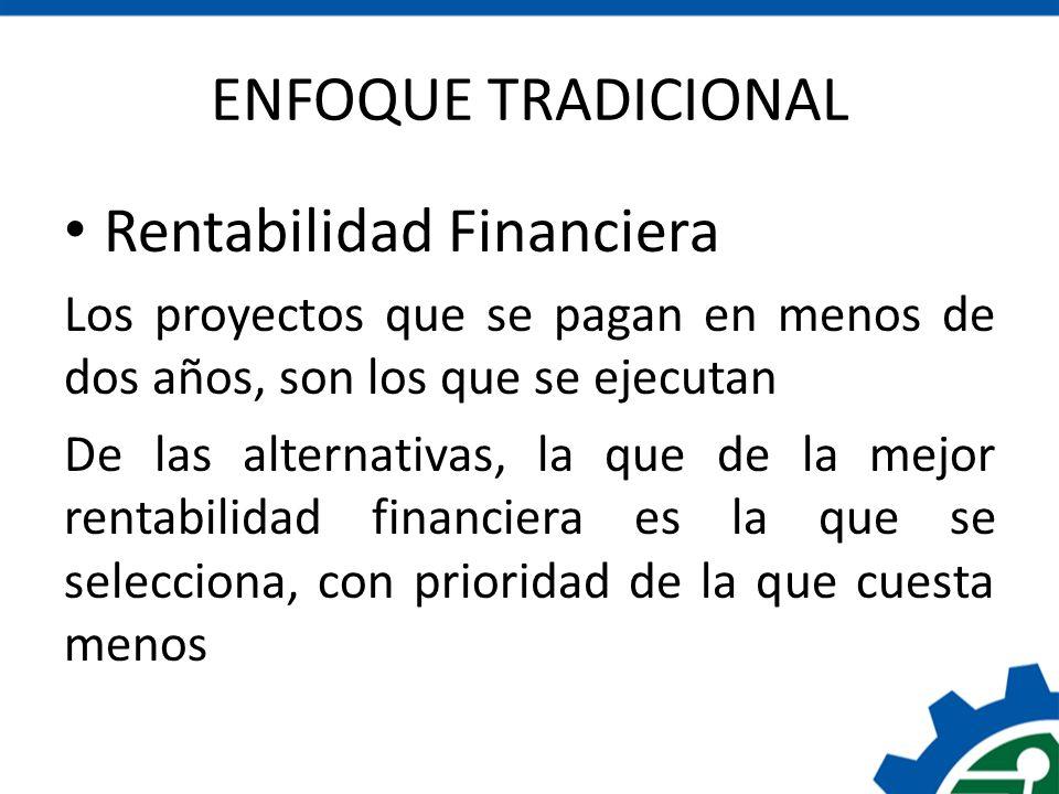 ENFOQUE TRADICIONAL Rentabilidad Financiera Los proyectos que se pagan en menos de dos años, son los que se ejecutan De las alternativas, la que de la