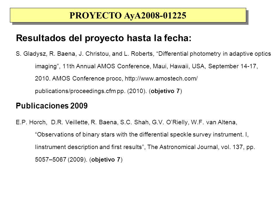 Resultados del proyecto hasta la fecha: S. Gladysz, R.