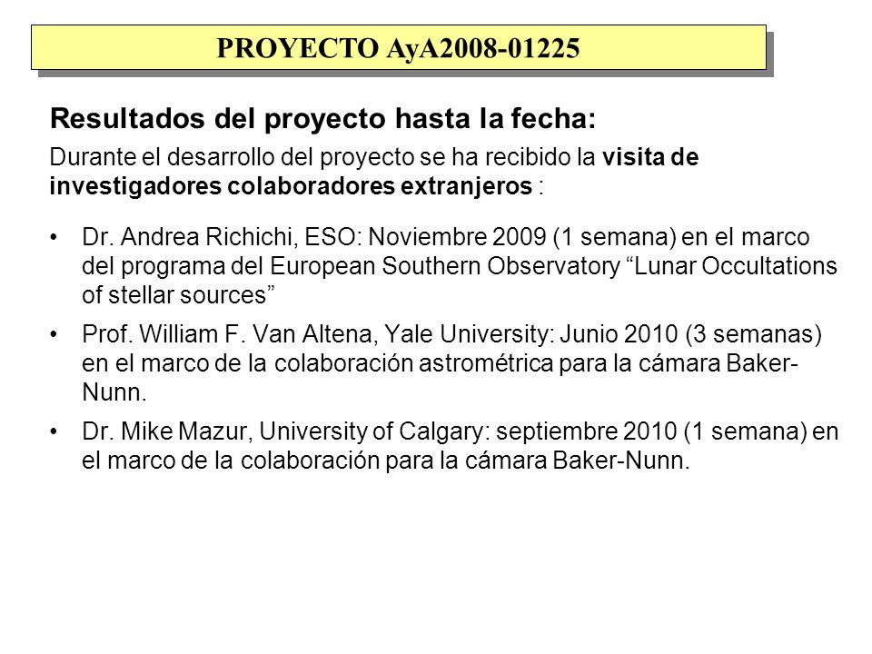 Resultados del proyecto hasta la fecha: Durante el desarrollo del proyecto se ha recibido la visita de investigadores colaboradores extranjeros : Dr.