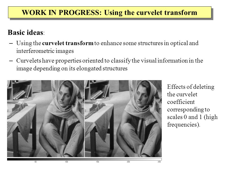 WORK IN PROGRESS: Using the curvelet transform Basic ideas : – Using the curvelet transform to enhance some structures in optical and interferometric