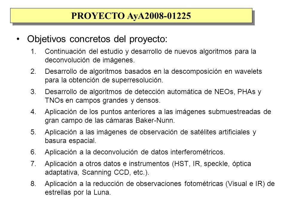 Objetivos concretos del proyecto: 1.Continuación del estudio y desarrollo de nuevos algoritmos para la deconvolución de imágenes.