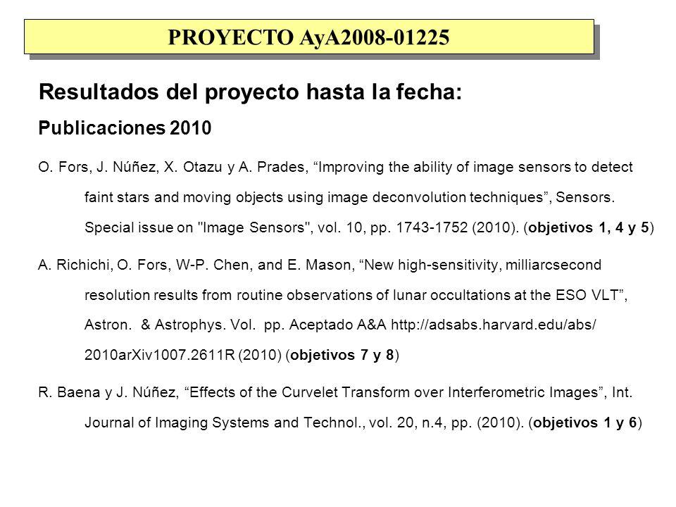 Resultados del proyecto hasta la fecha: M.T.Merino y J.