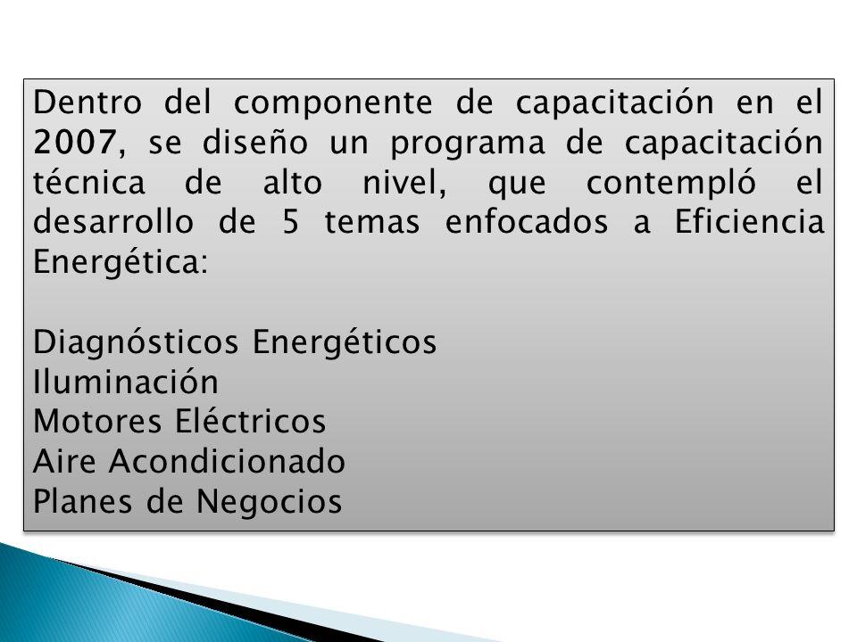 Dentro del componente de capacitación en el 2007, se diseño un programa de capacitación técnica de alto nivel, que contempló el desarrollo de 5 temas enfocados a Eficiencia Energética: Diagnósticos Energéticos Iluminación Motores Eléctricos Aire Acondicionado Planes de Negocios Dentro del componente de capacitación en el 2007, se diseño un programa de capacitación técnica de alto nivel, que contempló el desarrollo de 5 temas enfocados a Eficiencia Energética: Diagnósticos Energéticos Iluminación Motores Eléctricos Aire Acondicionado Planes de Negocios
