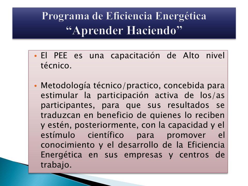 El PEE es una capacitación de Alto nivel técnico. Metodología técnico/practico, concebida para estimular la participación activa de los/as participant