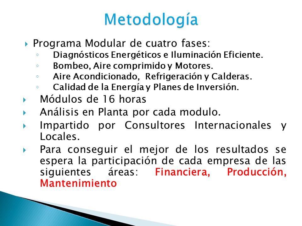 Programa Modular de cuatro fases: Diagnósticos Energéticos e Iluminación Eficiente. Bombeo, Aire comprimido y Motores. Aire Acondicionado, Refrigeraci