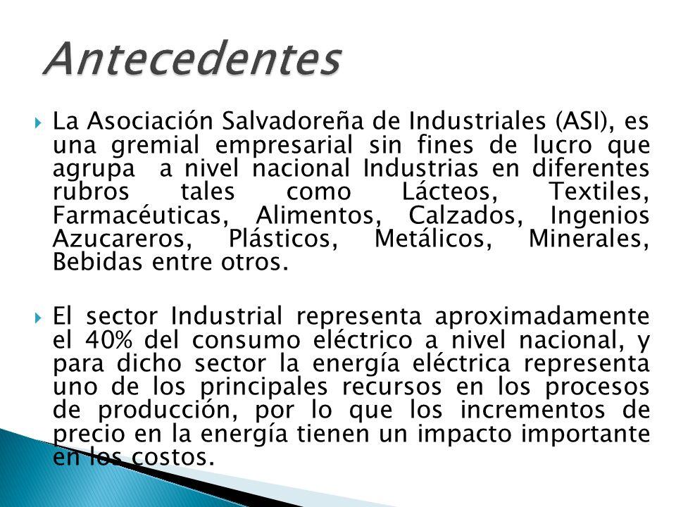 La Asociación Salvadoreña de Industriales (ASI), es una gremial empresarial sin fines de lucro que agrupa a nivel nacional Industrias en diferentes rubros tales como Lácteos, Textiles, Farmacéuticas, Alimentos, Calzados, Ingenios Azucareros, Plásticos, Metálicos, Minerales, Bebidas entre otros.
