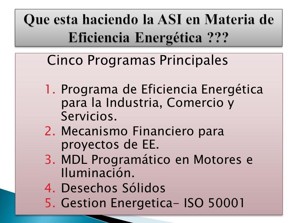 Cinco Programas Principales 1.Programa de Eficiencia Energética para la Industria, Comercio y Servicios. 2.Mecanismo Financiero para proyectos de EE.