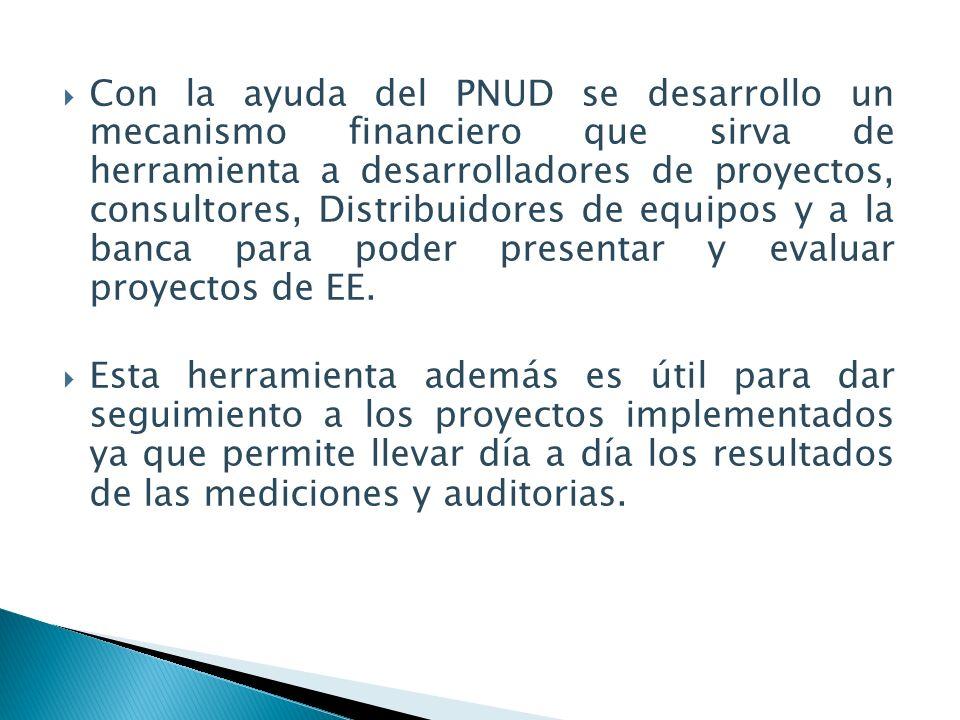 Con la ayuda del PNUD se desarrollo un mecanismo financiero que sirva de herramienta a desarrolladores de proyectos, consultores, Distribuidores de equipos y a la banca para poder presentar y evaluar proyectos de EE.