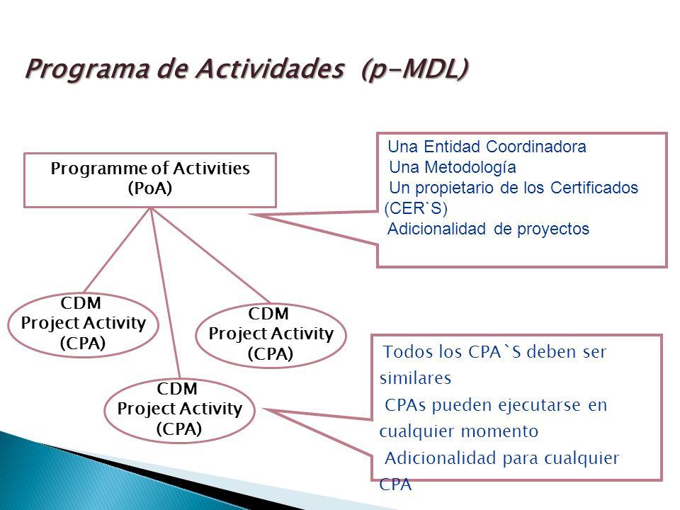 Programme of Activities (PoA) CDM Project Activity (CPA) CDM Project Activity (CPA) CDM Project Activity (CPA) Una Entidad Coordinadora Una Metodología Un propietario de los Certificados (CER`S) Adicionalidad de proyectos Todos los CPA`S deben ser similares CPAs pueden ejecutarse en cualquier momento Adicionalidad para cualquier CPA Programa de Actividades (p-MDL)