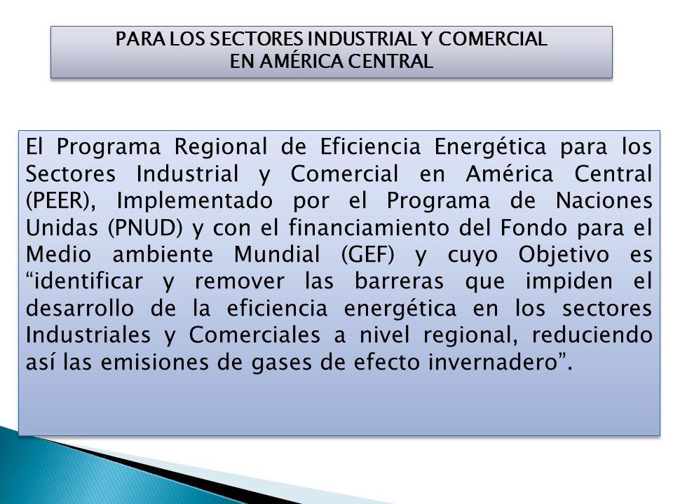PARA LOS SECTORES INDUSTRIAL Y COMERCIAL EN AMÉRICA CENTRAL El Programa Regional de Eficiencia Energética para los Sectores Industrial y Comercial en