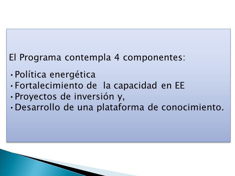 El Programa contempla 4 componentes: Política energética Fortalecimiento de la capacidad en EE Proyectos de inversión y, Desarrollo de una plataforma
