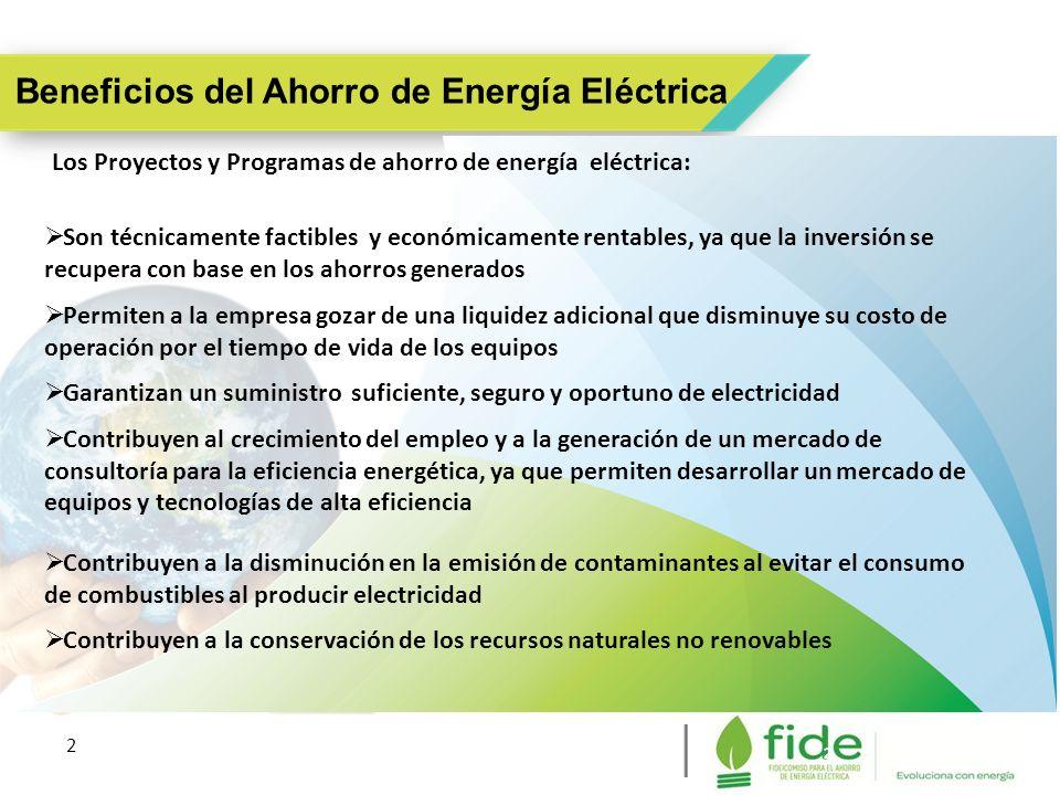 2 2 Beneficios del Ahorro de Energía Eléctrica Los Proyectos y Programas de ahorro de energía eléctrica: Son técnicamente factibles y económicamente r