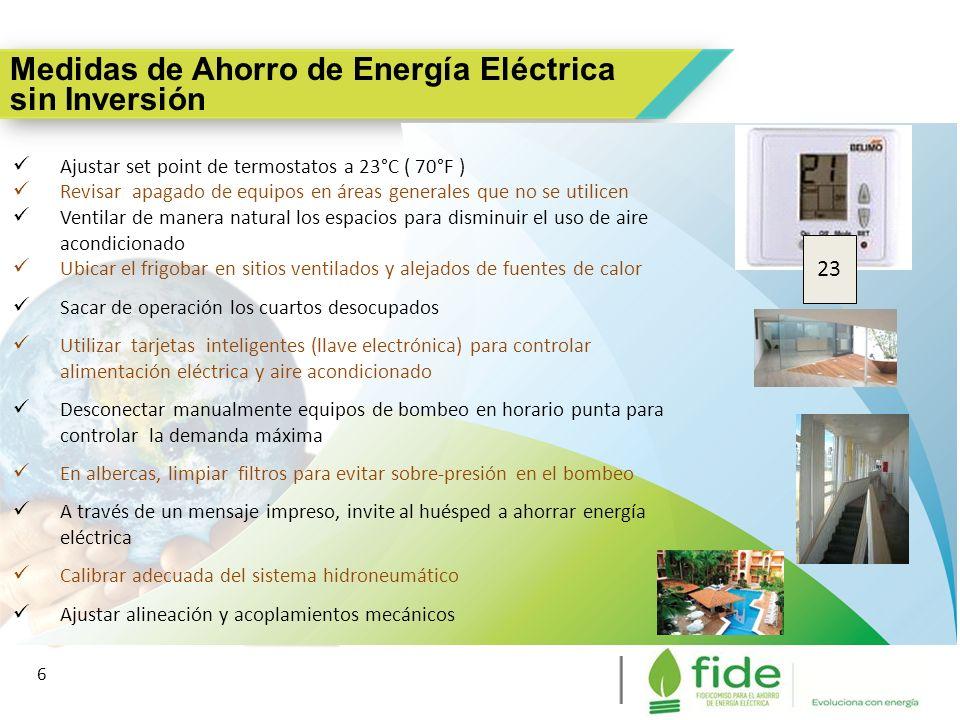 6 Medidas de Ahorro de Energía Eléctrica sin Inversión 6 Ajustar set point de termostatos a 23°C ( 70°F ) Revisar apagado de equipos en áreas generale