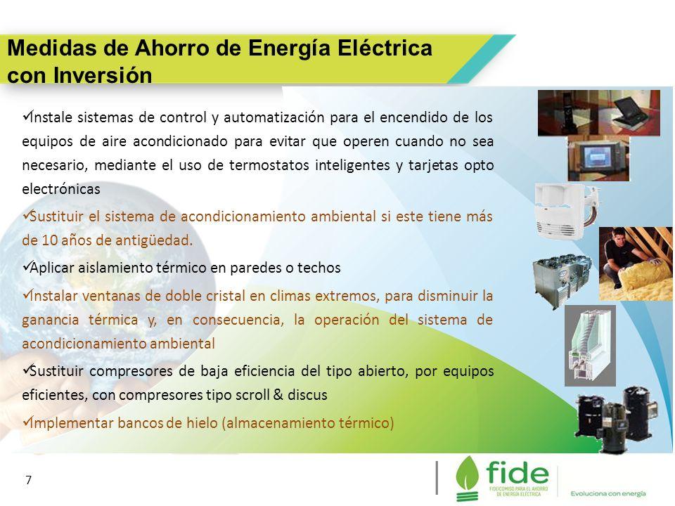 7 Medidas de Ahorro de Energía Eléctrica con Inversión 7 Instale sistemas de control y automatización para el encendido de los equipos de aire acondic