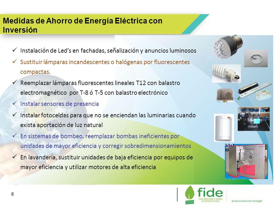 8 8 Instalación de Leds en fachadas, señalización y anuncios luminosos Sustituir lámparas incandescentes o halógenas por fluorescentes compactas. Reem