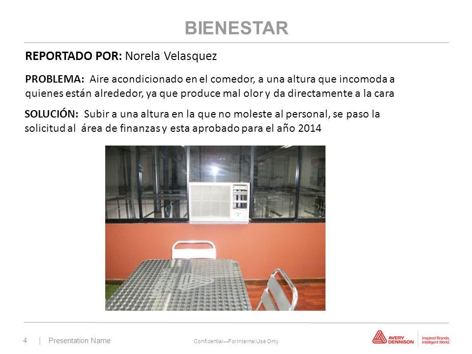 4 | Presentation Name ConfidentialFor Internal Use Only BIENESTAR PROBLEMA: Aire acondicionado en el comedor, a una altura que incomoda a quienes está
