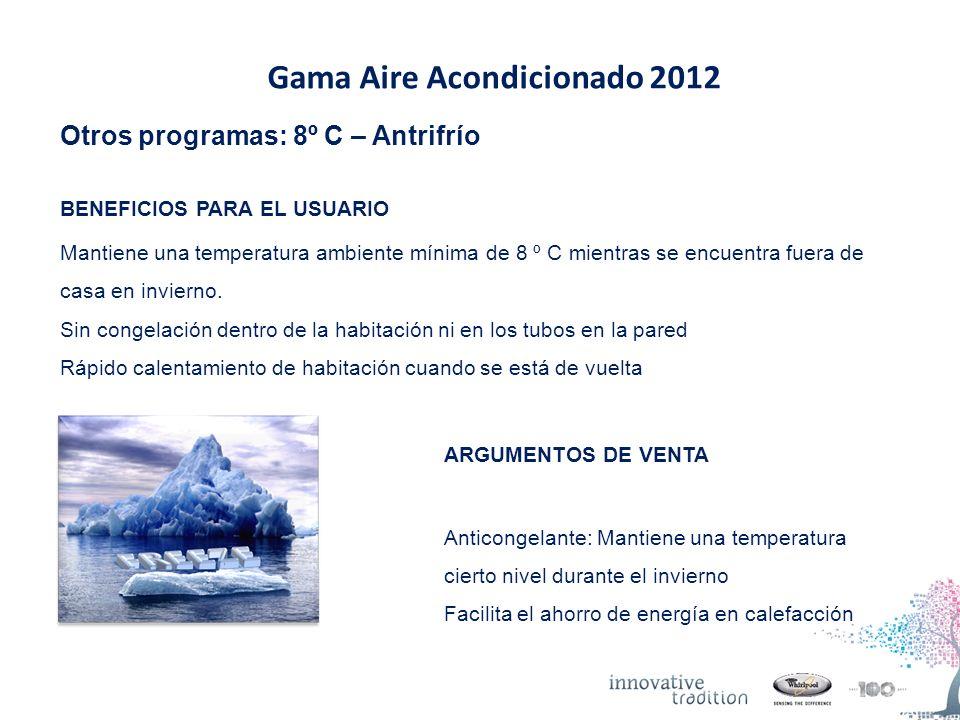 Gama Aire Acondicionado 2012 Otros programas: 8º C – Antrifrío BENEFICIOS PARA EL USUARIO Mantiene una temperatura ambiente mínima de 8 º C mientras se encuentra fuera de casa en invierno.