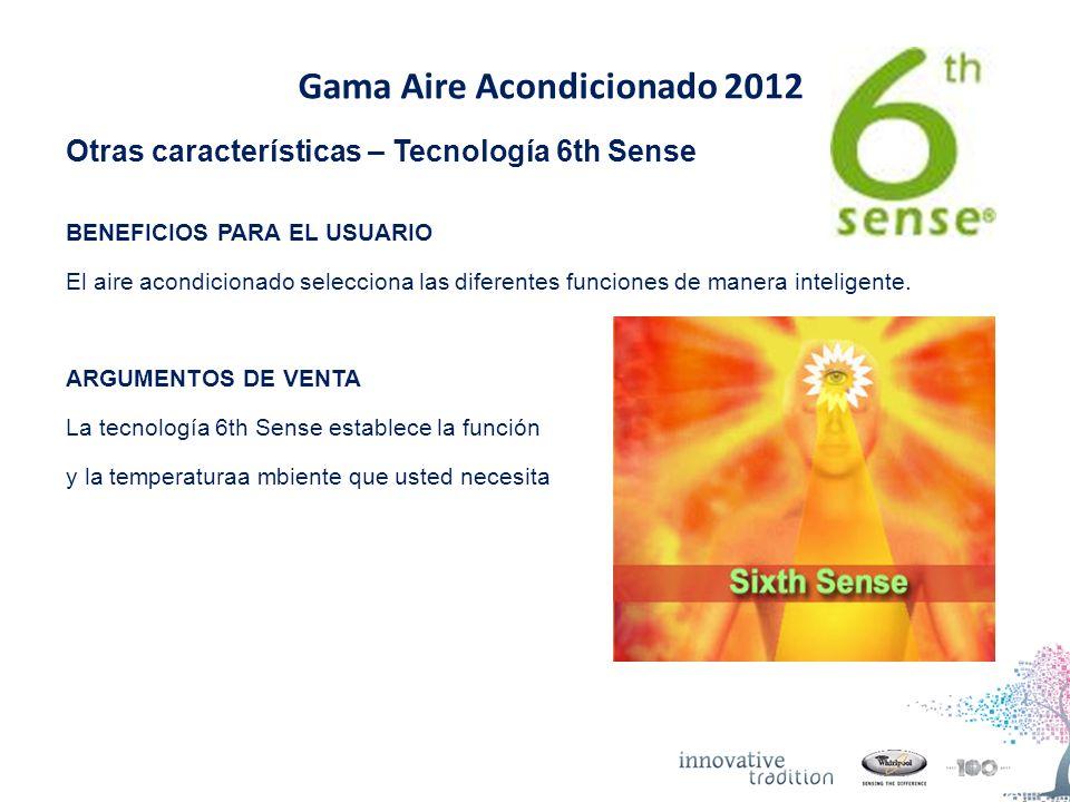 Gama Aire Acondicionado 2012 Otras características – Tecnología 6th Sense BENEFICIOS PARA EL USUARIO El aire acondicionado selecciona las diferentes funciones de manera inteligente.
