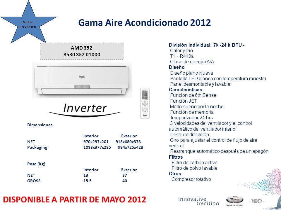 Gama Aire Acondicionado 2012 AMD 352 8530 352 01000 Dimensiones Interior Exterior NET 970x297x201 913x680x378 Packaging 1033x377x285 994x725x428 Peso (Kg) Interior Exterior NET13 37 GROSS 15.5 40 División individual: 7k -24 k BTU - Calor y frío T1 - R410a Clase de energía A/A Diseño Diseño plano Nueva Pantalla LED blanca con temperatura muestra Panel desmontable y lavable Características Función de 6th Sense Función JET Modo sueño por la noche Función de memoria Temporizador 24 hrs 3 velocidades del ventilador y el control automático del ventilador interior Deshumidificación Giro para ajustar el control de flujo de aire vertical Rearranque automático después de un apagón Filtros Filtro de carbón activo Filtro de polvo lavable Otros Compresor rotativo Nuevo INVERTER DISPONIBLE A PARTIR DE MAYO 2012