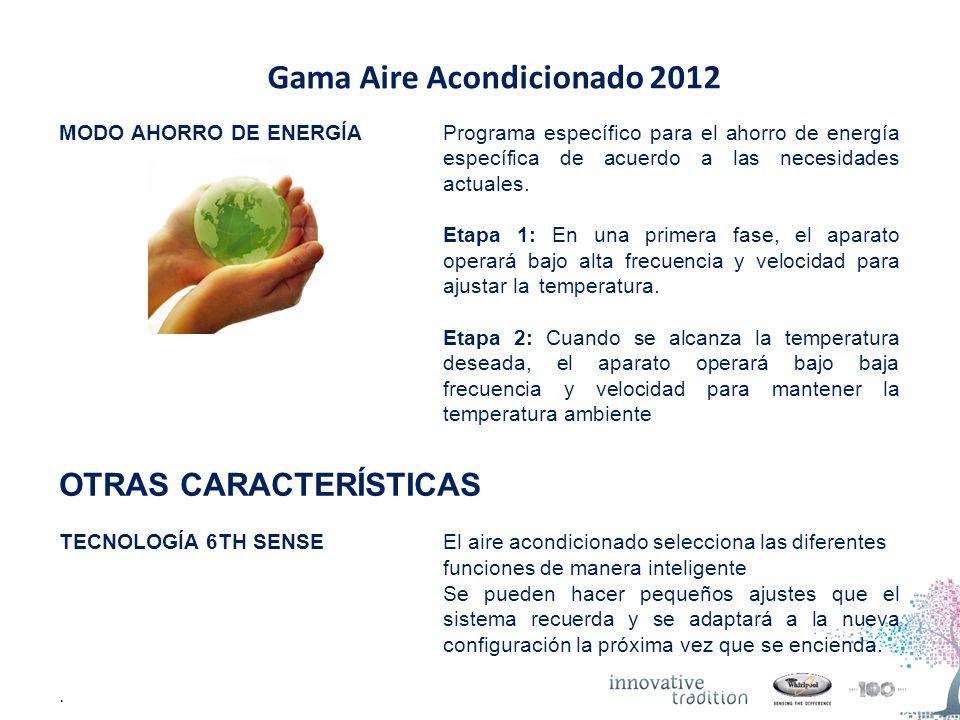 Gama Aire Acondicionado 2012 MODO AHORRO DE ENERGÍAPrograma específico para el ahorro de energía específica de acuerdo a las necesidades actuales.